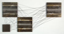 "Memory Echoes..? No5, Charcoal, Rust, Acrylic and Carbon Fibre on Aluminum, 24"" x 48"""