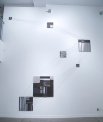 Surface Tension..? (2013), Charcoal, Rust, Acrylic, Carbon-fibre and Aluminum, 16ft x 12ft