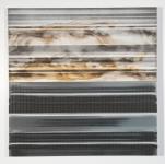 "A Manufactured Landscape: Horizon (2014) Charcoal, Rust & Acrylic on Aluminum, 24""x24"""